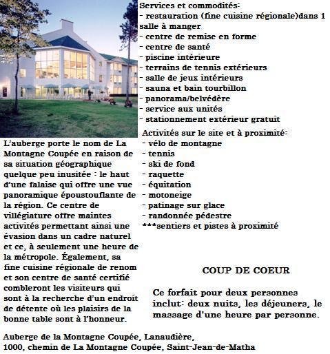 Avantage 5 section client - Auberge de la montagne coupee ...